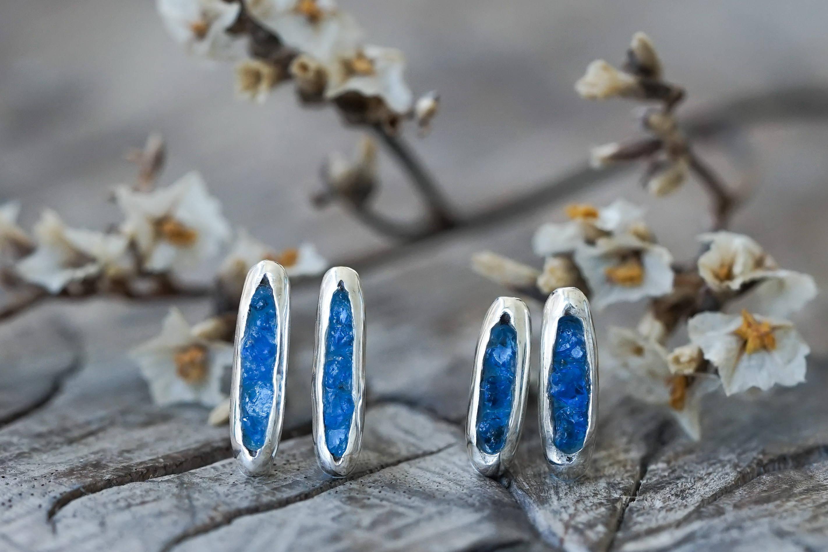 Silver hauyne earrings