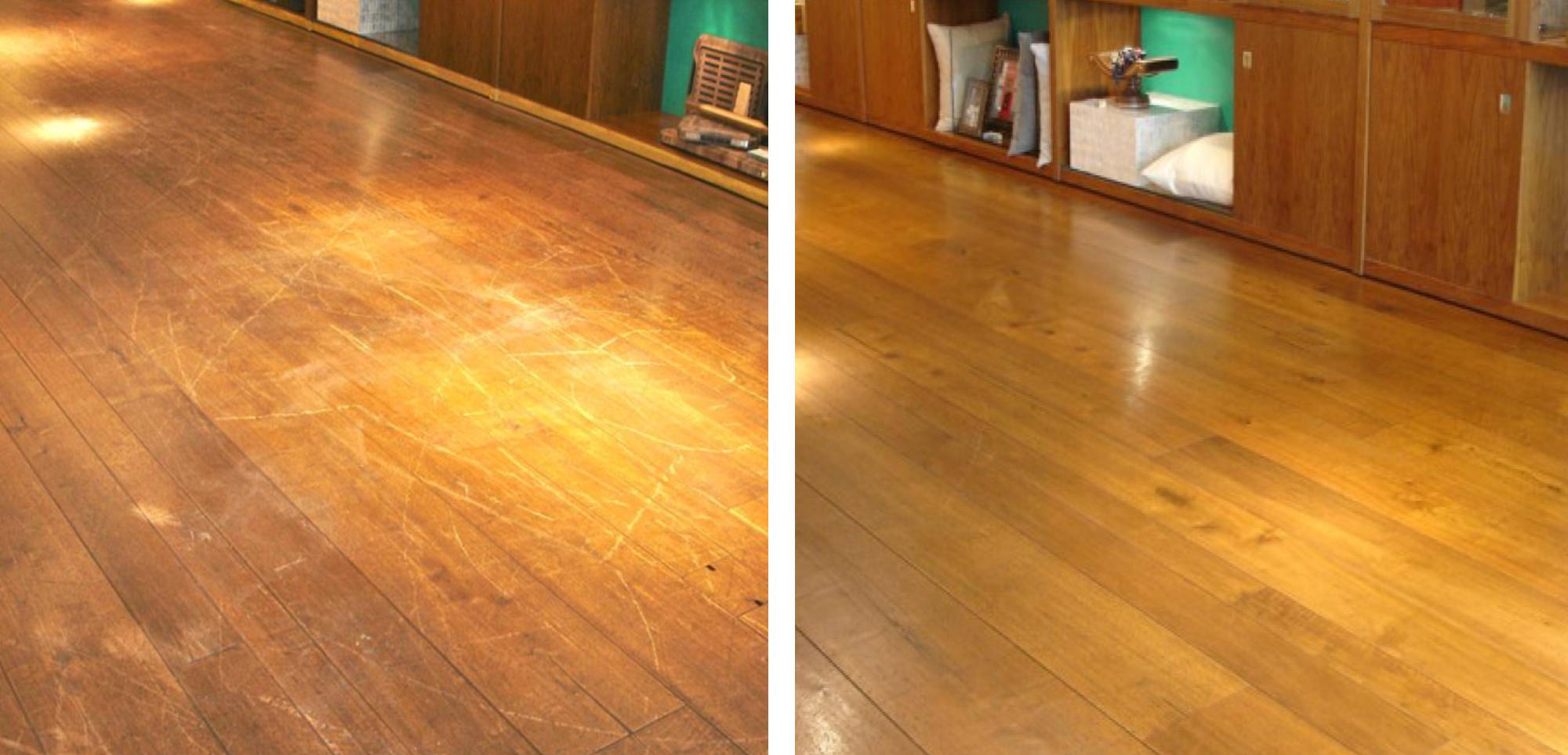 Before and after image of a damaged floor in a Munich retail shop