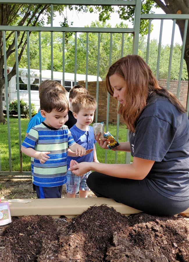 children planting seeds in a school garden