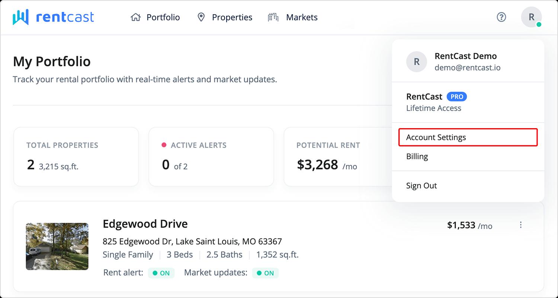 Account settings link in navigation bar
