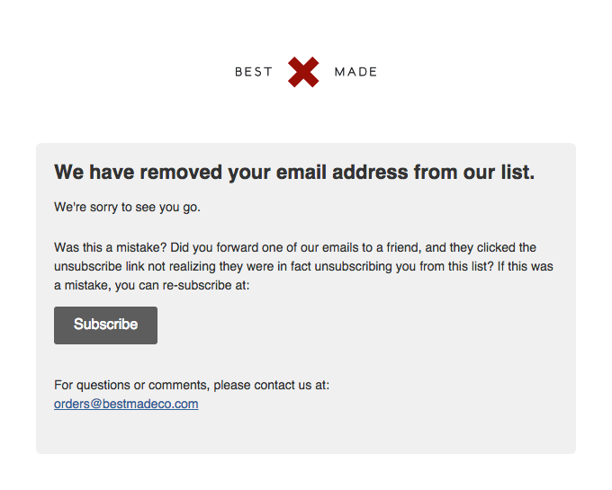 A low unsubscribe rate shows that your emails resonate with customers, while a high unsubscribe rate means you may want to rework your brand's messaging.