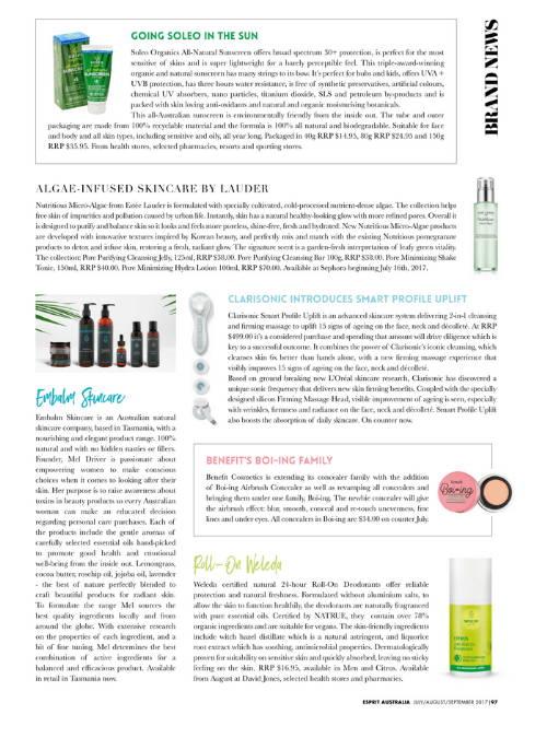 Embalm Skincare in Esprit Magazine