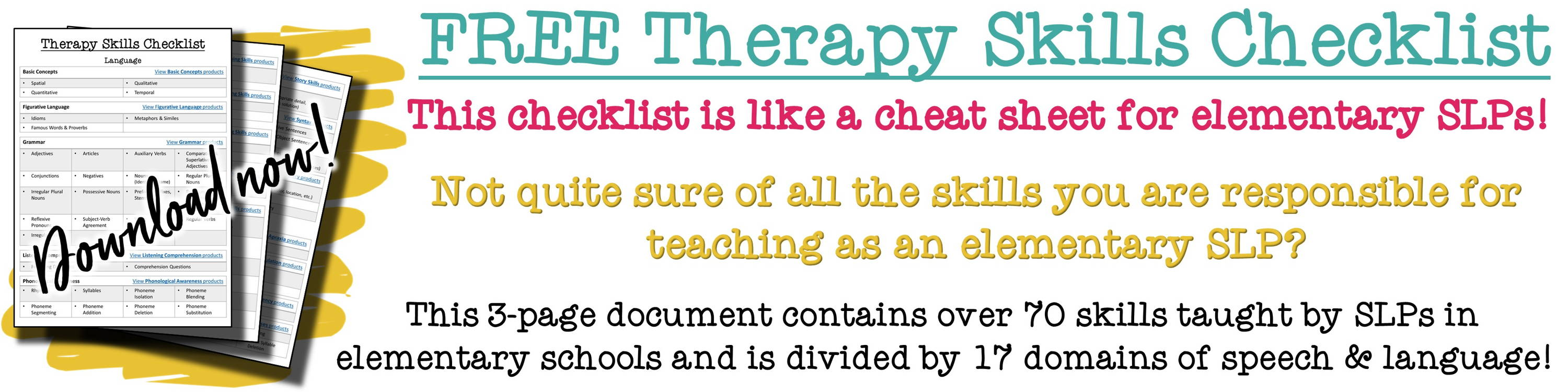 A checklist of which Speech Therapy Skills elementary SLPs are to teach