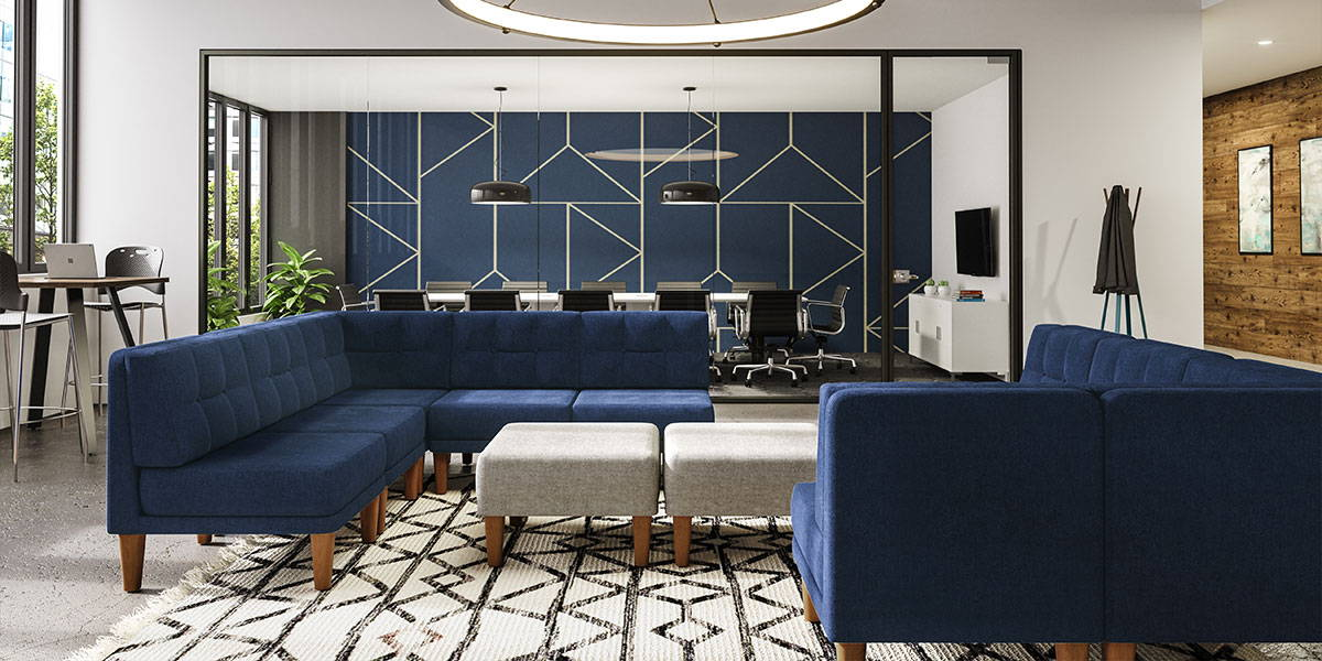 Waiting area lounge furniture in blue and silver with walnut legs