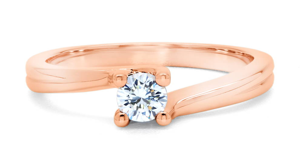 Rose gold ring with angled ring body with a 25-point diamond set in claws