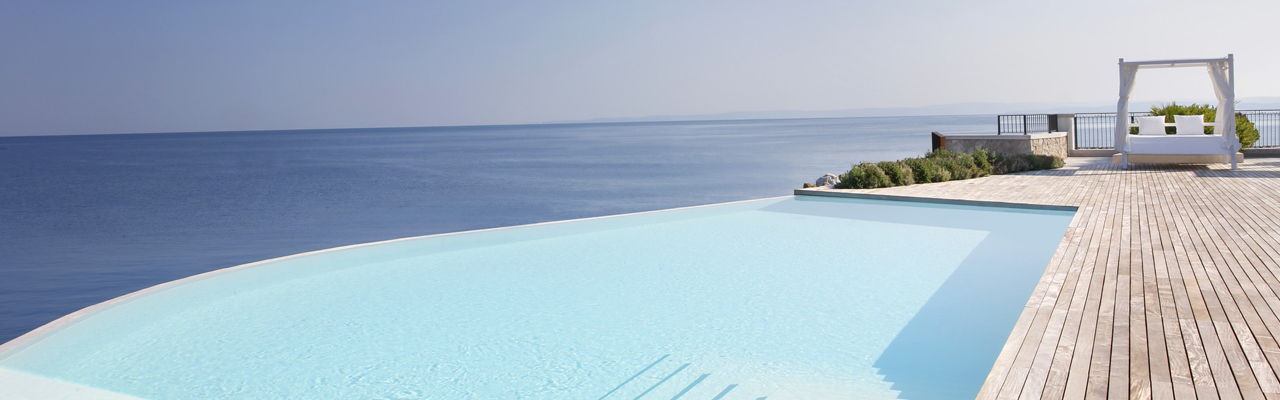 Hamburg - Infinity pool overlooking the crystal clear Adriatic sea at the Portopiccolo resort in Trieste, Italy.