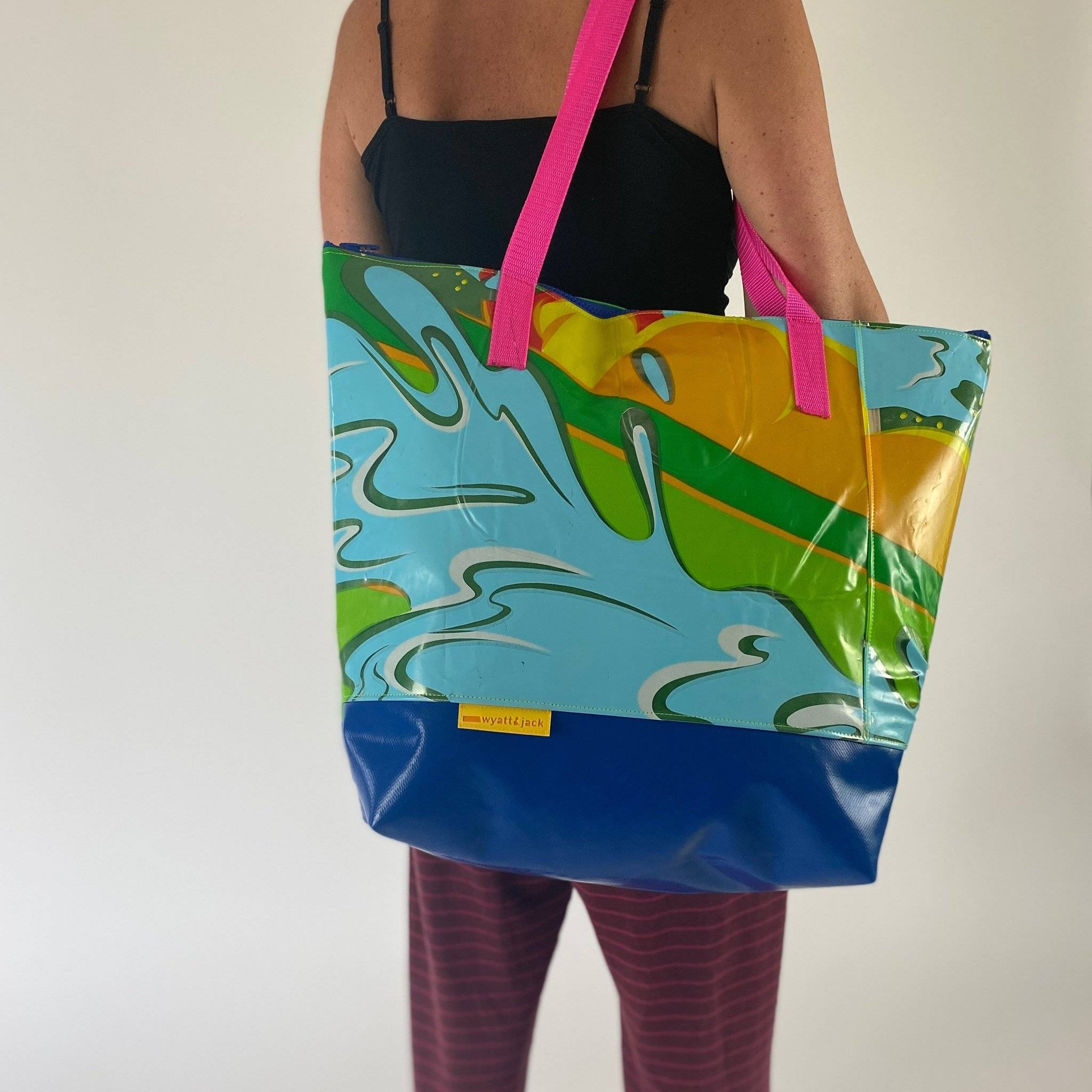 A Wyatt and Jack beach bag made from recycled inflatables
