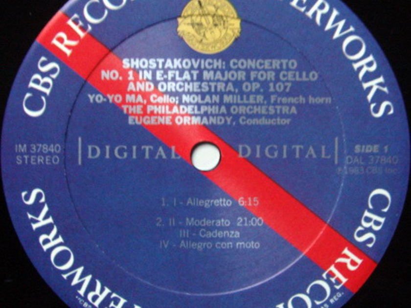 CBS Digital / YO-YO MA, - Shostakovich Cello Concerto, MINT!