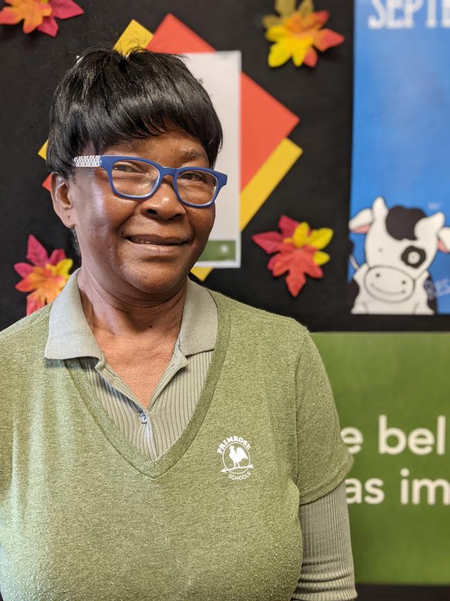Smiling black woman wearing glasses