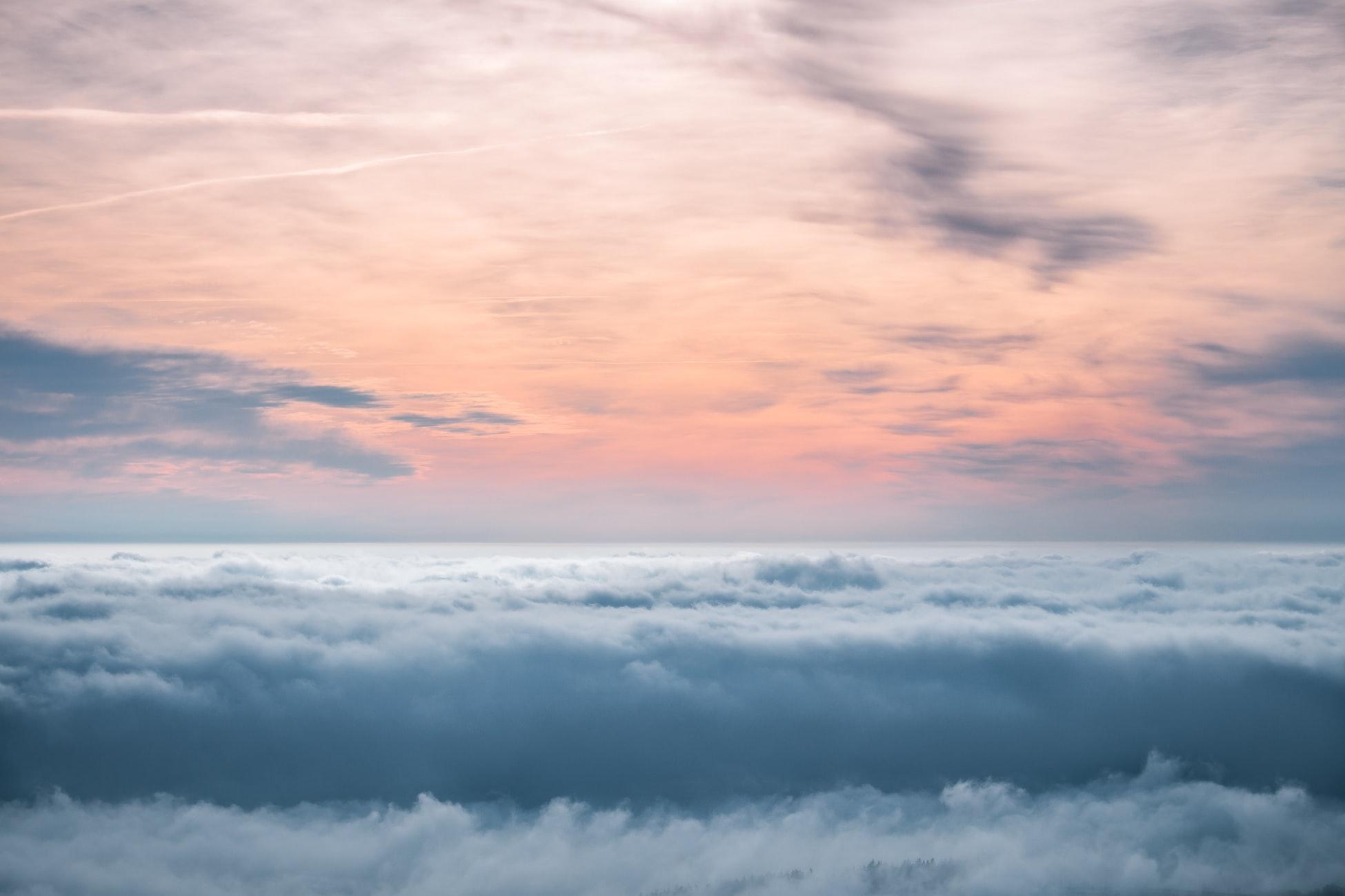 A cloudy sky at sunset