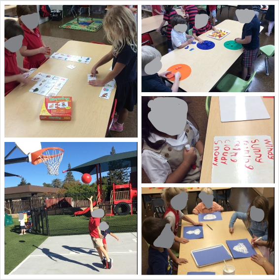 Collage of pictures of our Pre-Kindergarten students completing activities about the weather, 3-D shapes and bodies of water