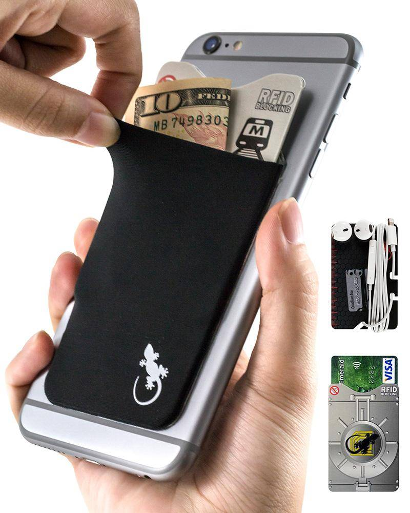 Phone wallet by Gecko Travel Tech, adhesive card holder sleeve in black, universal fit to any cell phone, carry credit cards and cash in this stretchy Lycra pocket.