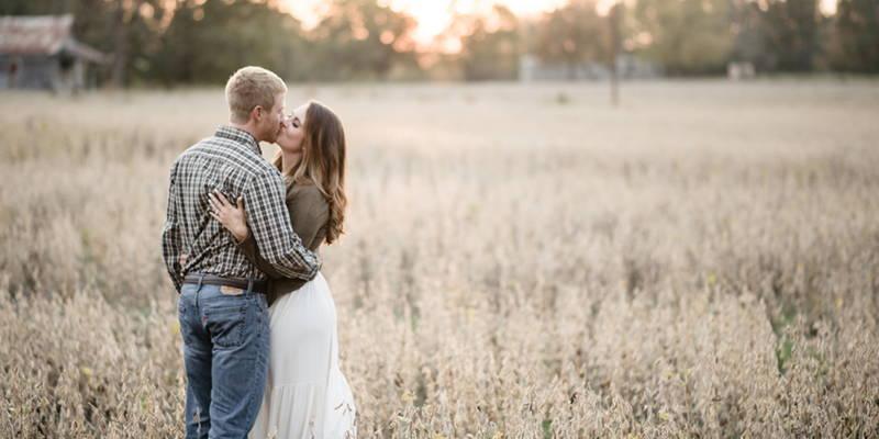 Romance blooms in a soybean field