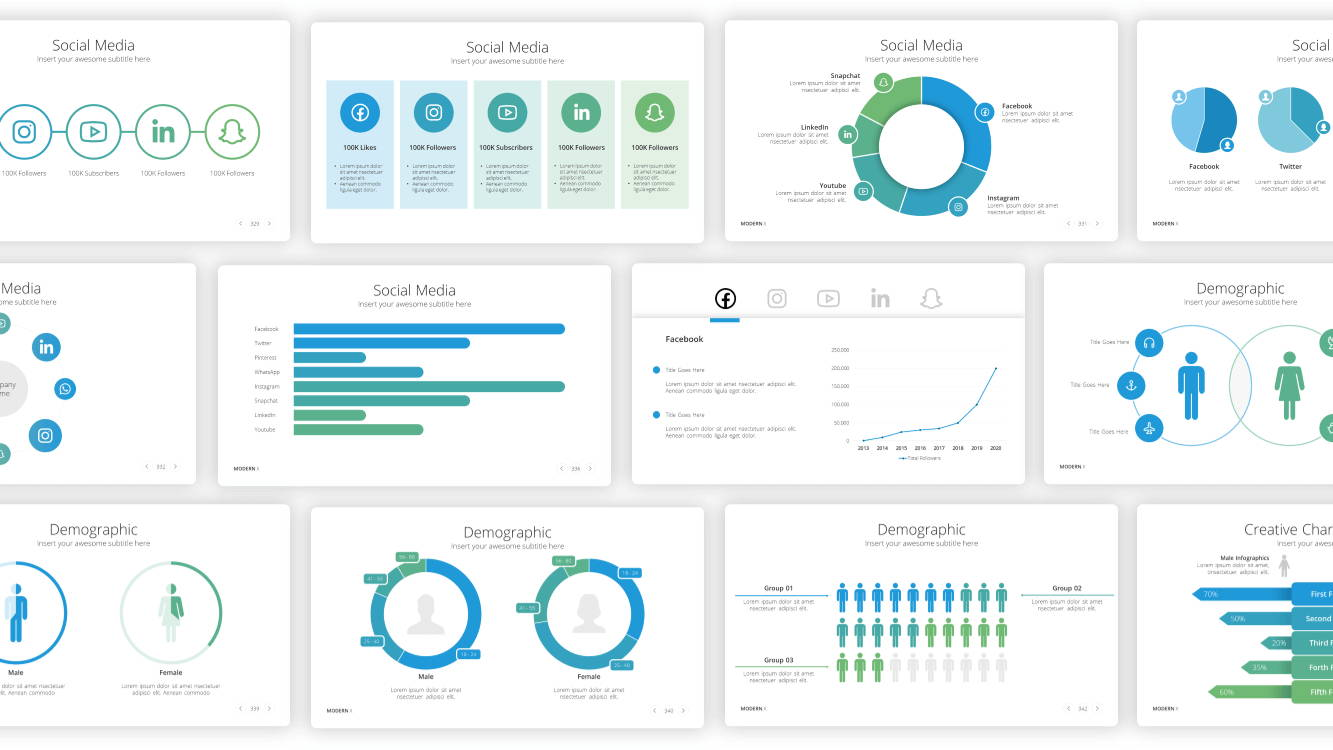 social media infographic powerpoint template, demographic infographic powerpoint template, infographic powerpoint template, infographic presentation template