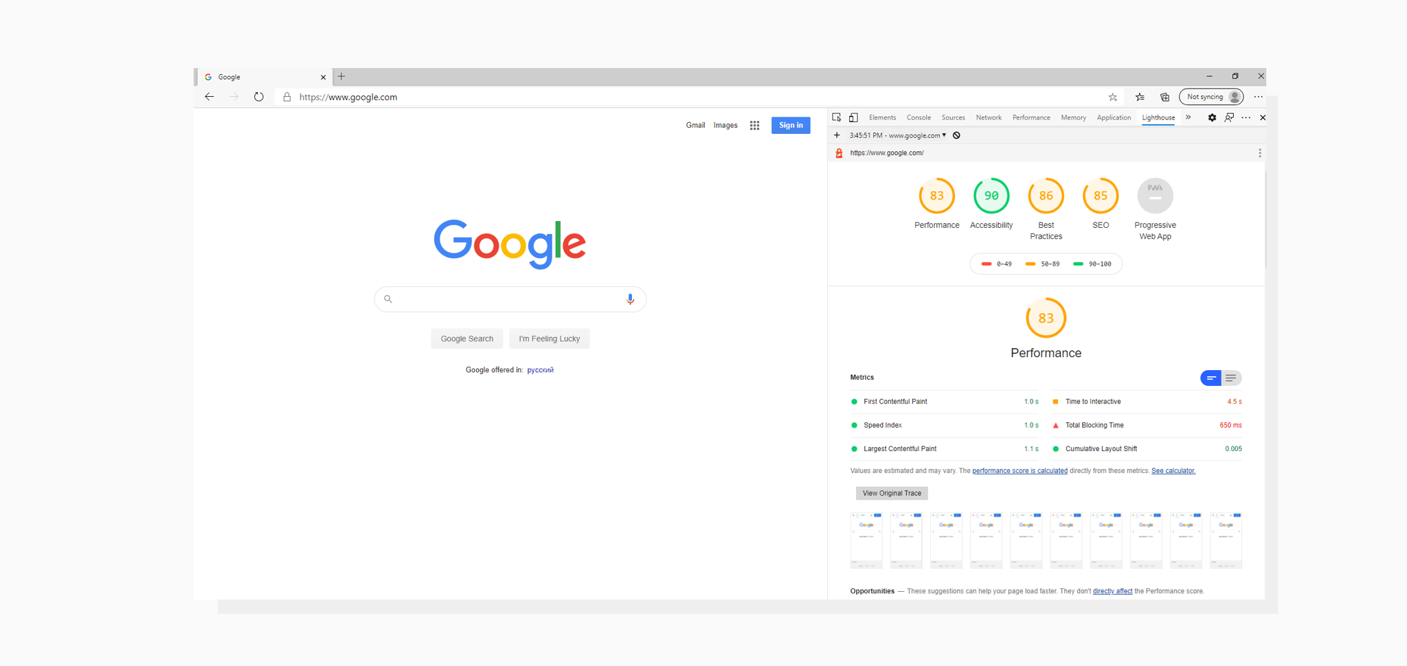 A screenshot of Google Lighthouse audit launched from Microsoft Edge browser