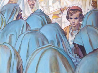 Painting of young Jesus surrounded by teachers and officials as He teaches them in the temple.