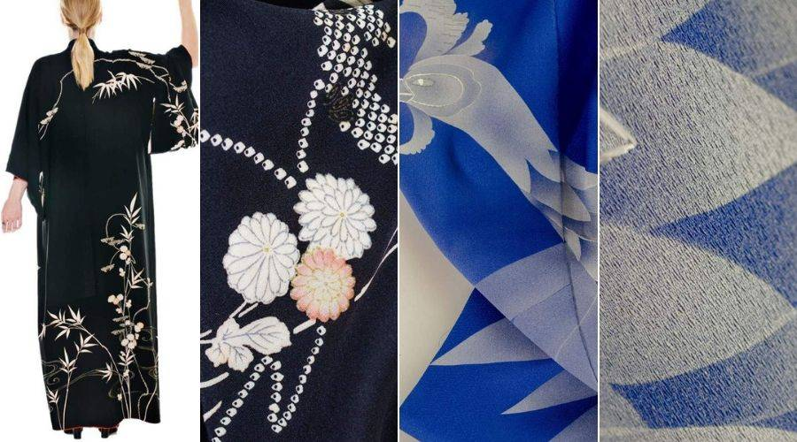 4 examples of kinsha silk used in japanese kimono