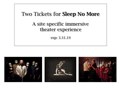 2 Tickets for Sleep No More