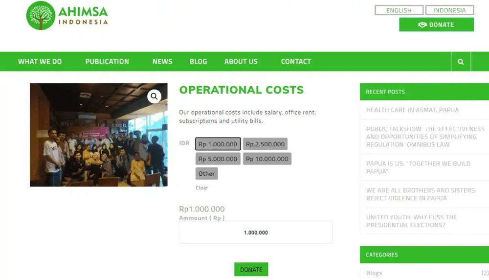 Philoshop Web Development for ahimsa.id Donation-Dekstop View