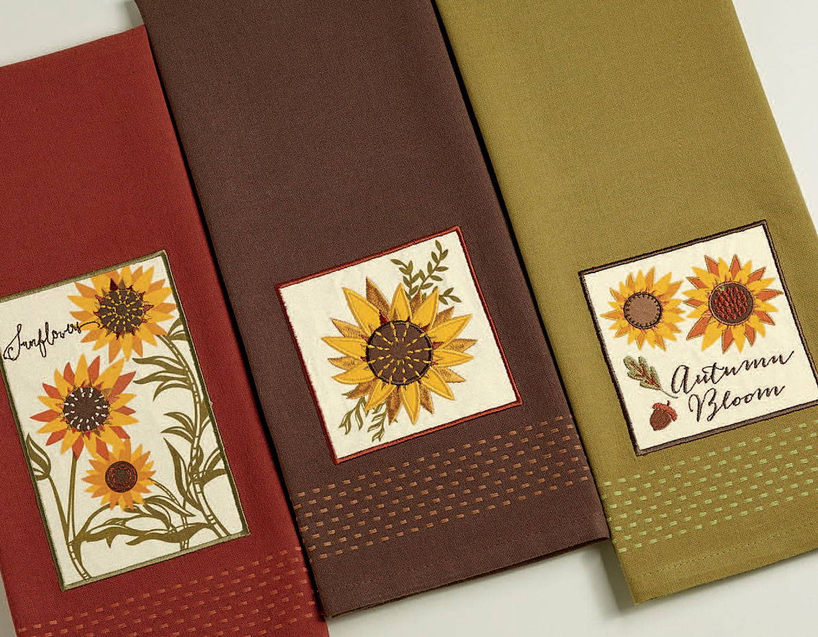 wholesale rustic sunflower dishtowel set