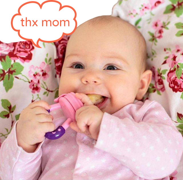Happy baby enjoying their SuperTots food pacifier