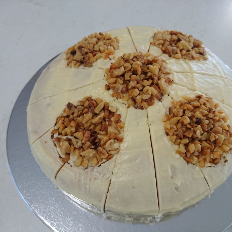 Date: 20 Oct 2016 (Sun) The Banana Cake (decorated with walnuts) that went to Holy Rosary Parish Morning Tea. The next time we have Garden Morning Tea I will bring along the kuih-muih of Nyonya Cooking!