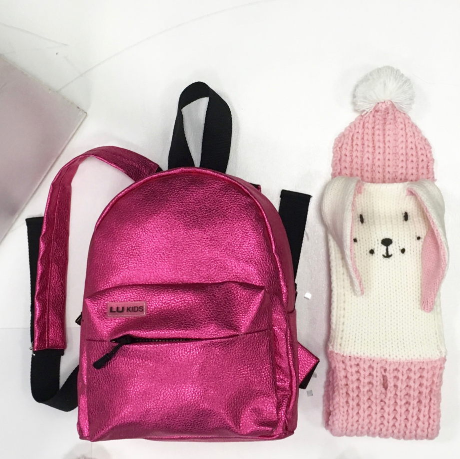 Рюкзак розовый металлик