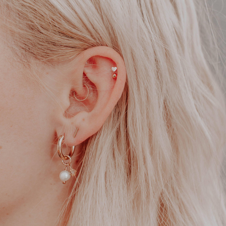 14k heart stud earrings