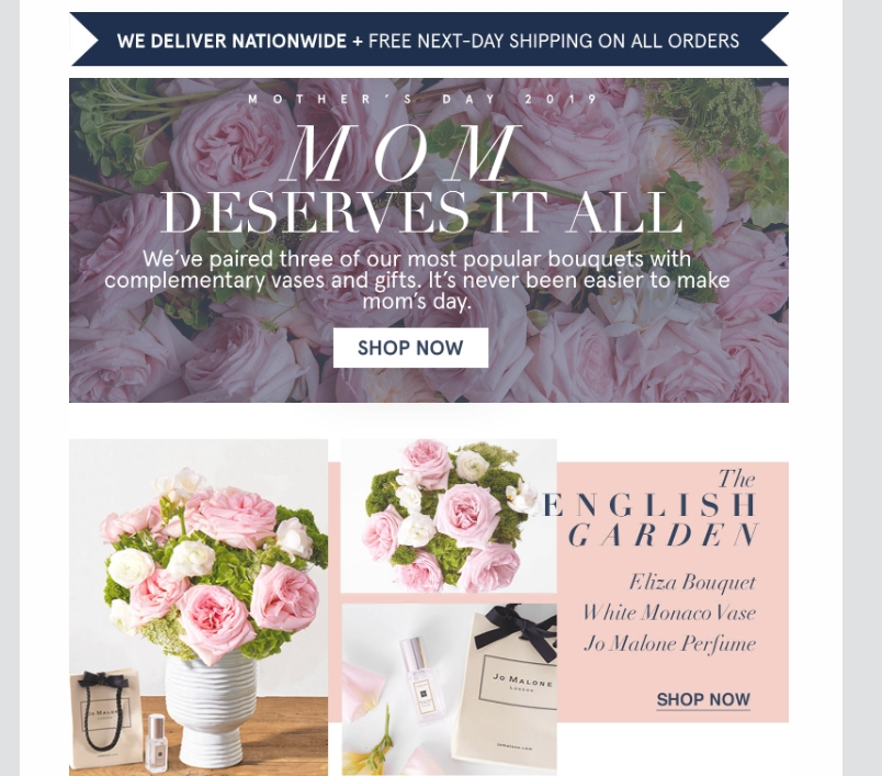 An email from Urbanstems celebrates mom.