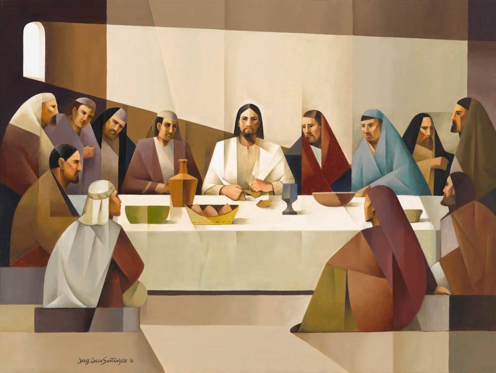 Modern art painting of the Last Supper.