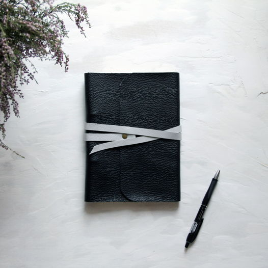 Кожаный блокнот А5 чёрный