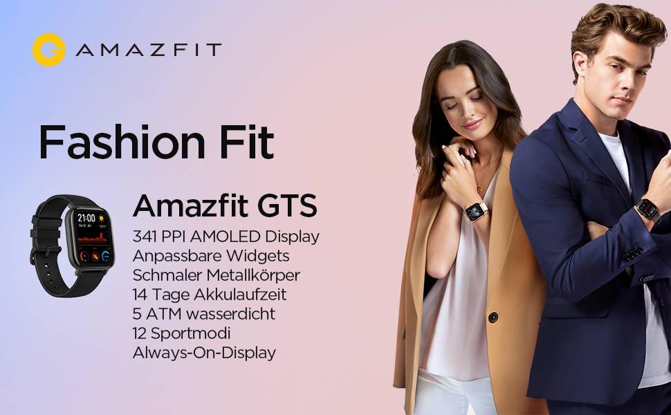 Amazfit GTS - 341 PPI AMOLED Display | Anpassbare Widgets  Schmaler Metallkörper | 14 Tage Akkulaufzeit  5 ATM wasserdicht| 12 Sportmodi