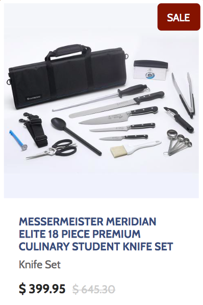 Messermeister Meridian Elite 18 Piece Premium Culinary Student Knife Set