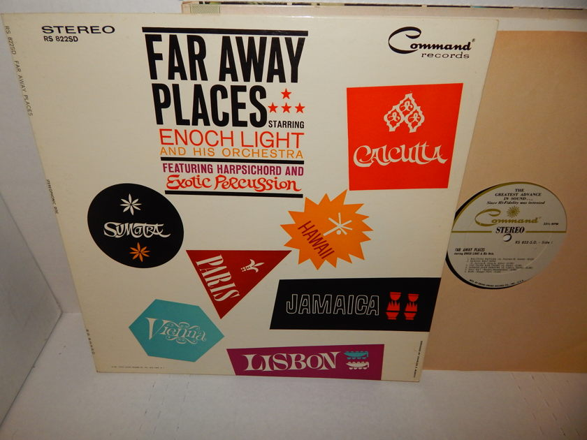ENOCH LIGHT Far Away Places - Exotic Percussion Latin Jazz Space Age 1961 Command Records LP NM