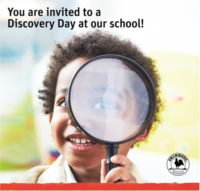 Discovery day invitation poster featuring a young Primrose student looking excitedly through a magnifying glass