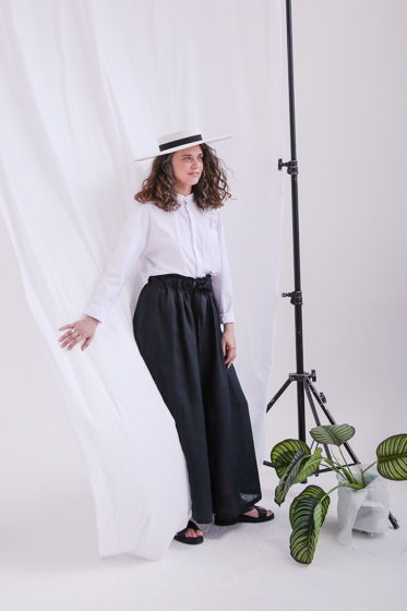 Широкие брюки-юбка из чёрного льна