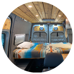The inside of A Mercedes Sprinter van with Flarespace flares