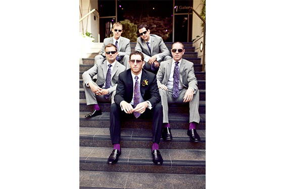 grey groomsman suits purple socks