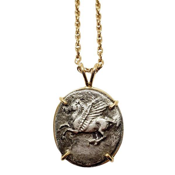 Ancient Greek Corinth Pegasus Coin Pendant