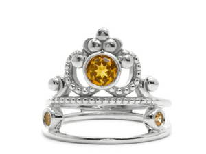 Princess jewelry Flamme en rose ring with yellow citrine
