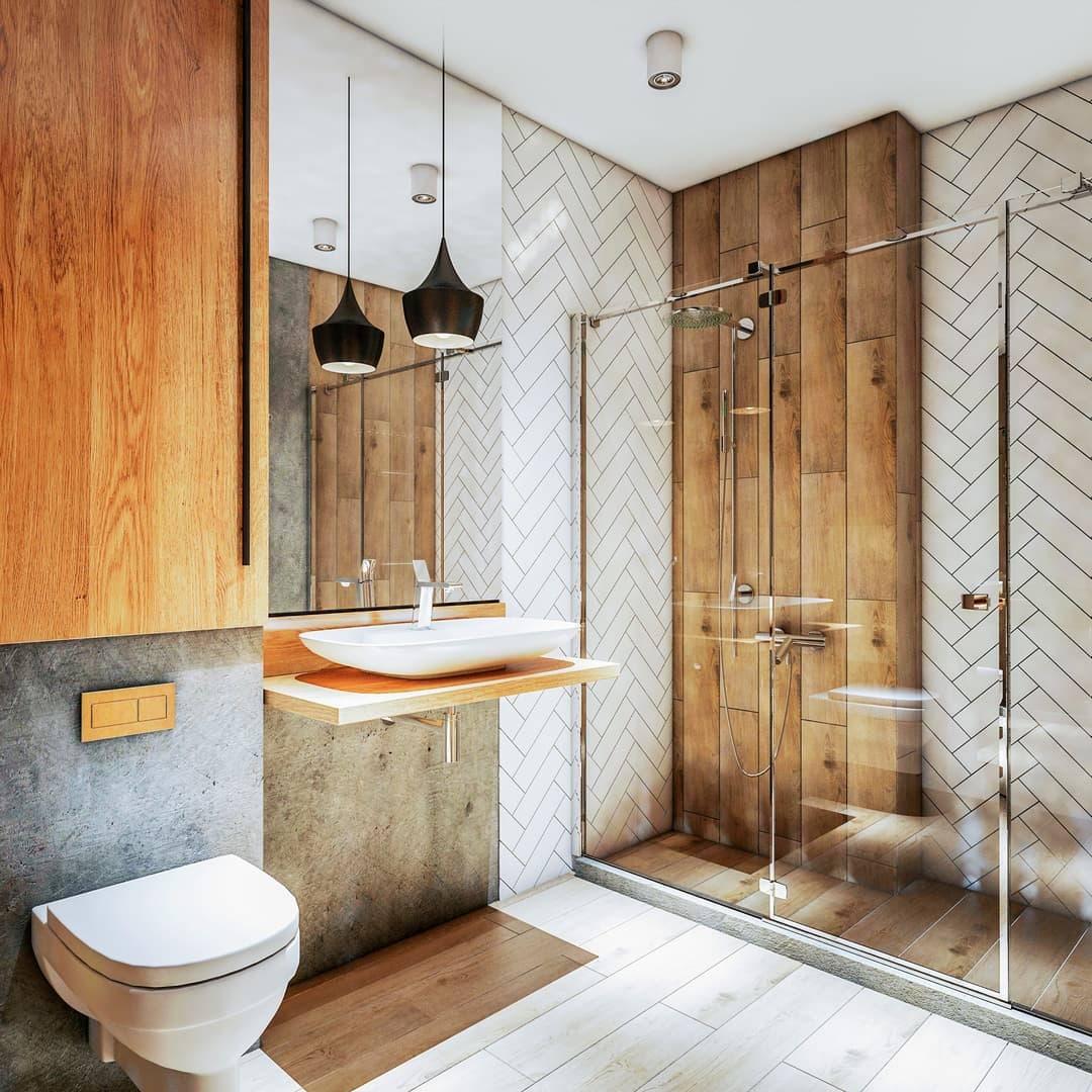 Salle de bain bois massif