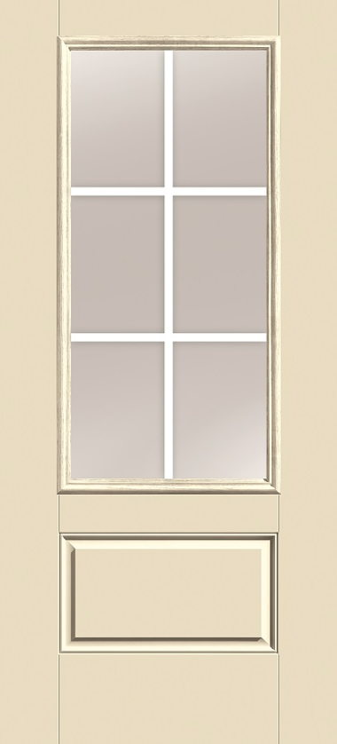 THERMA TRU THREE QUARTER GLASS, SIX LIGHT, GRIDS BETWEEN GLASS