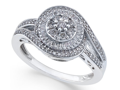 Diamond Cluster Circle Ring 1/2 ct tw