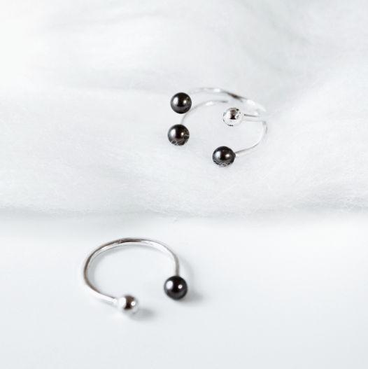 Кольцо 'Pearl-4' серебро с черным жемчугом