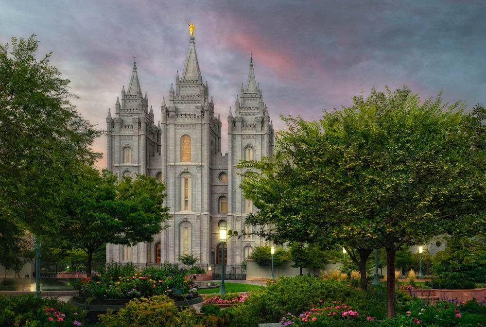 LDS art small print of a photo of the Salt Lake Temple and grounds by Robert A. Boyd.