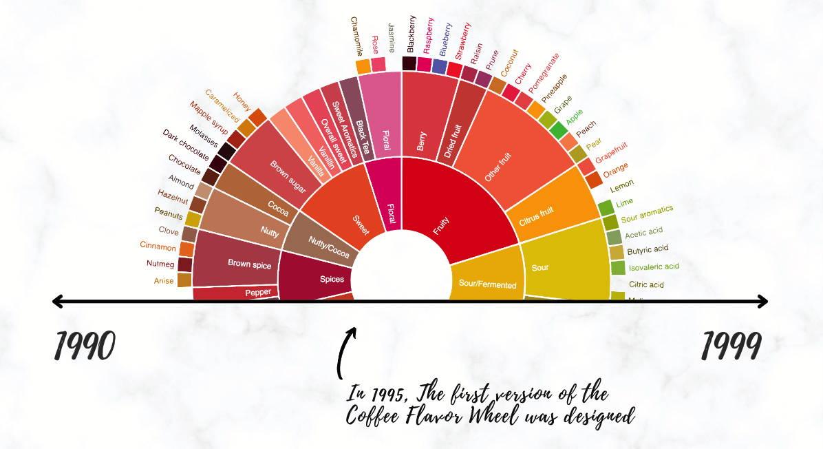 Coffee Flavor Wheel 1990 Timeline