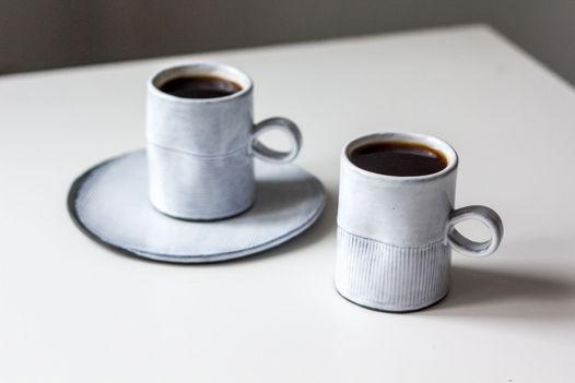 Кофейная пара керамическая состаренная в рубчик