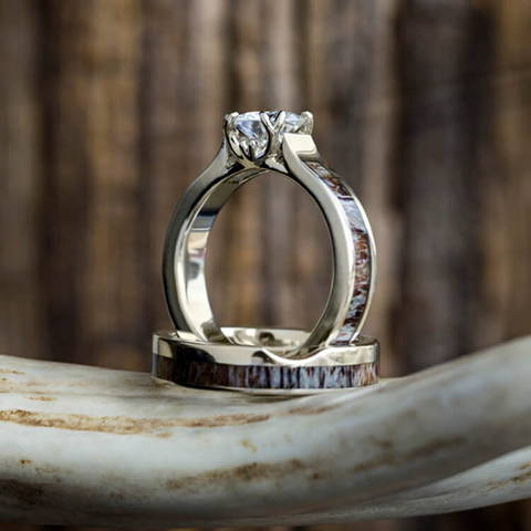 moissanite bridal set deer antler engagement ring