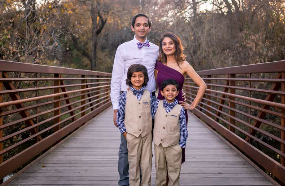 Franchise Owners of Primrose School Kevin and Reena Bhakta with their family