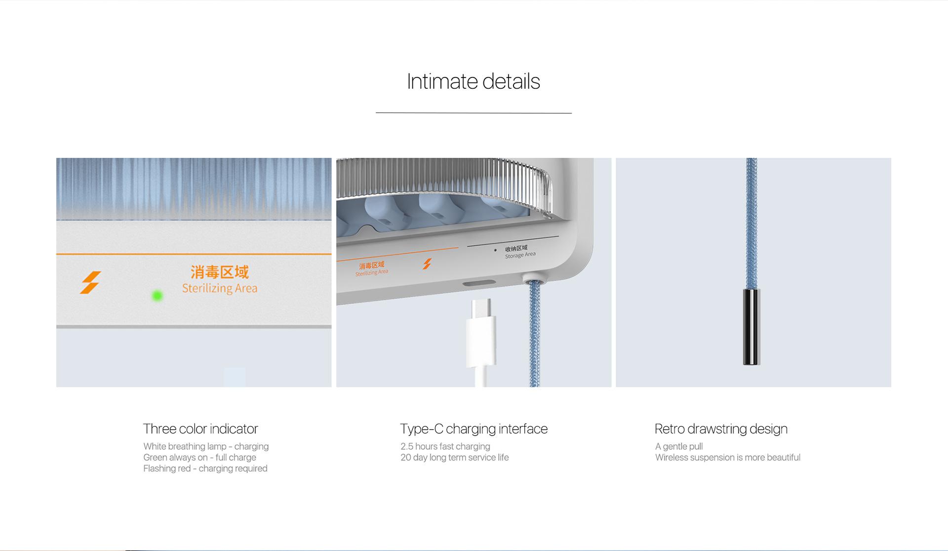 three color indicator type-C charging interface  retro drawstring design